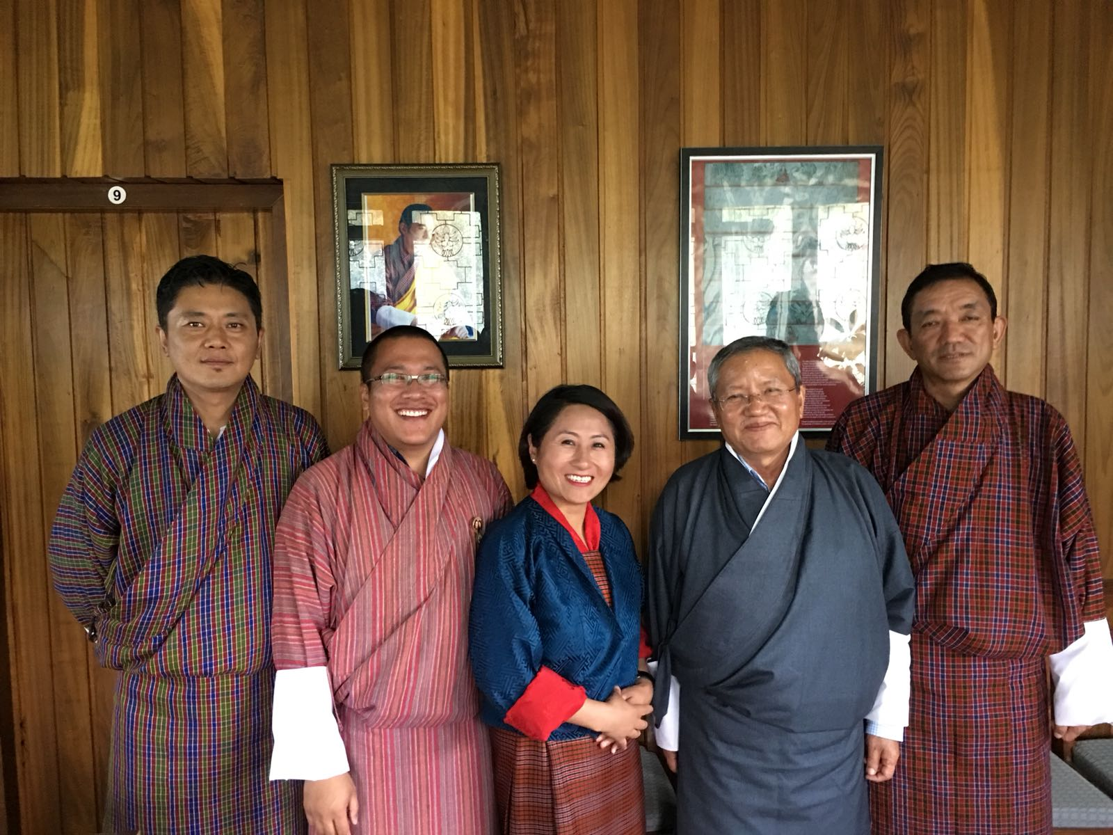 From left to right: Tashi Rabgyel, Dragyel Dorjee, Kunzang Wamgmo, Lyonpo Dr. Kinzang Dorji (President SSB) and Nado Dukpa